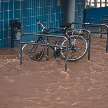 bicycle stuck in the flood